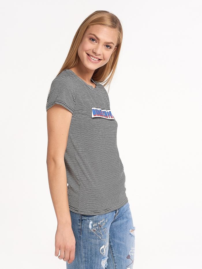 Ριγέ t-shirt με μήνυμα μπροστά