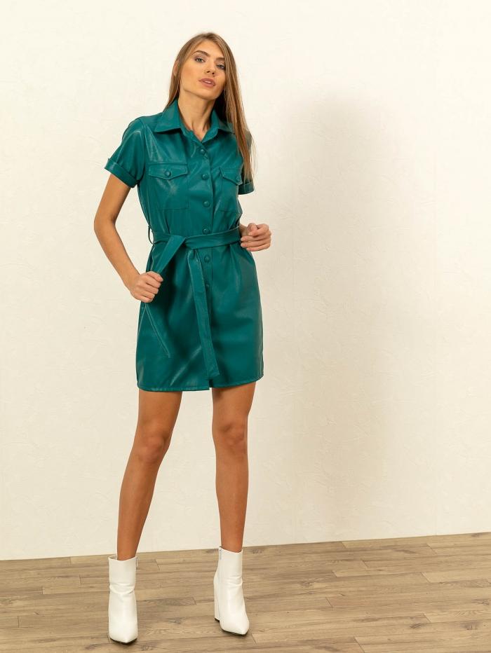 Shirt dress από δερματίνη