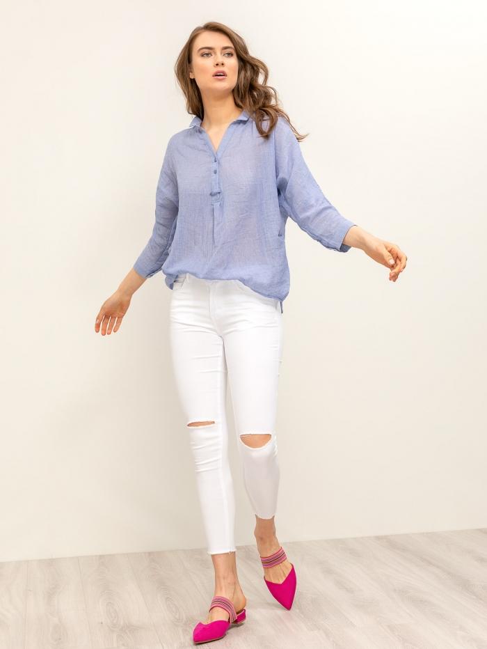 Skinny ελαστικό παντελόνι με σκίσιμο