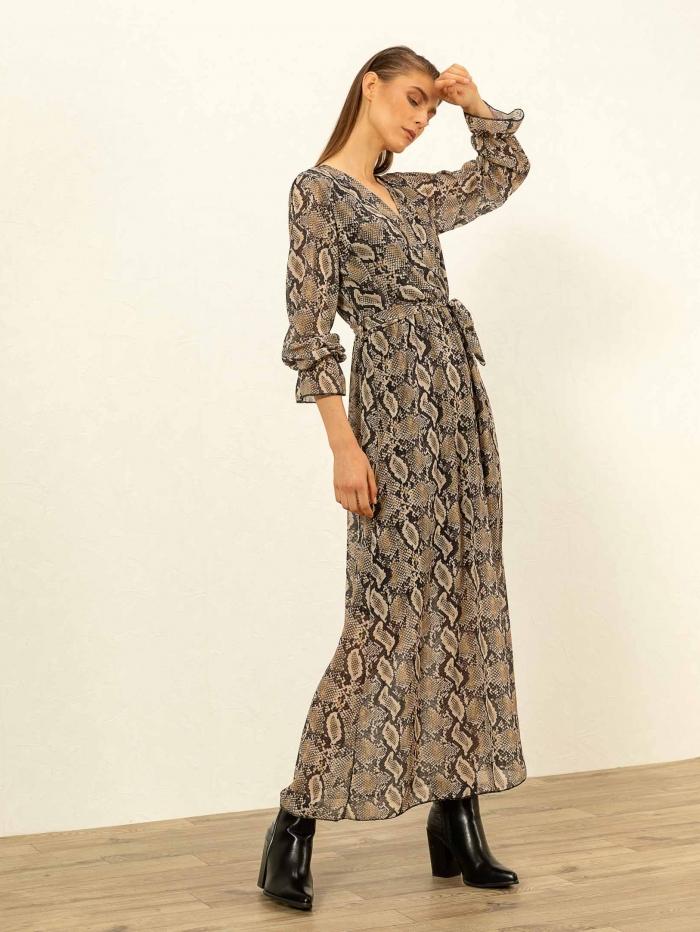 Snake skin κρουαζέ φόρεμα