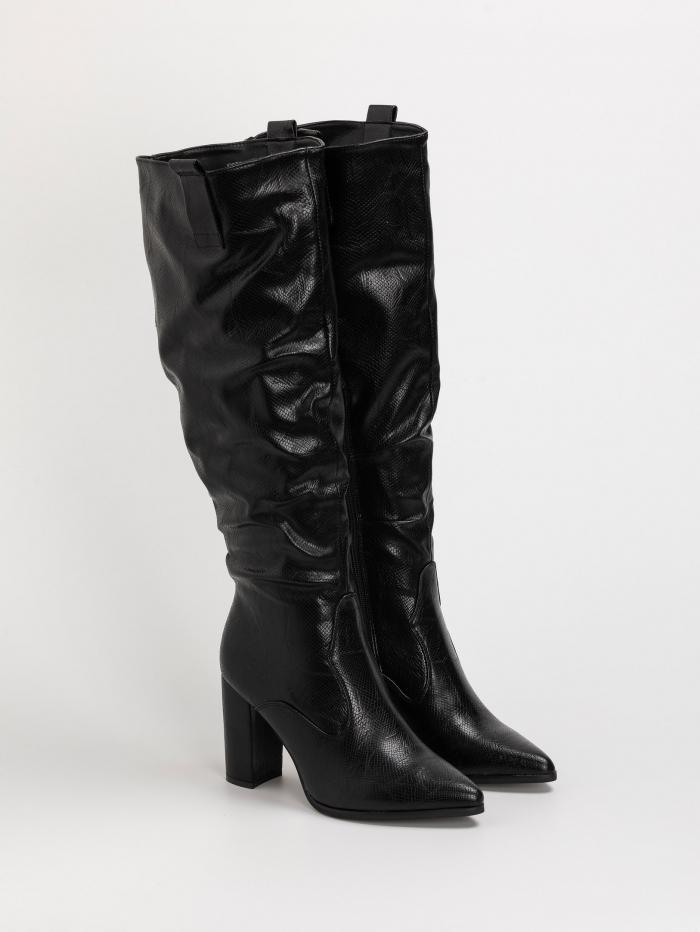 Snake skin μπότες με χοντρό τακούνι