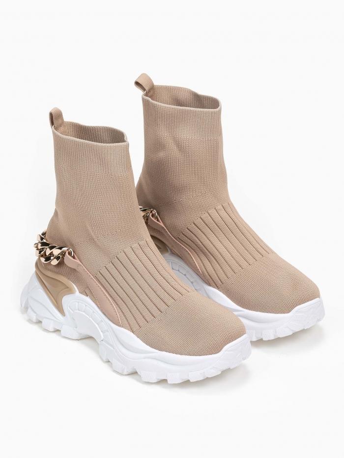 Sneakers μποτάκια με κάλτσα και αλυσίδα