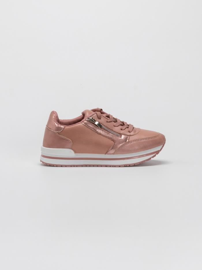 Sneakers με διακοσμητικό φερμουάρ και flatform σόλα