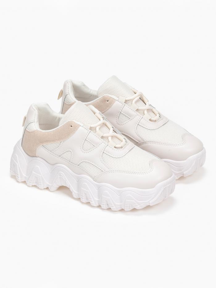 Chunky sneakers με suede λεπτομέρεια