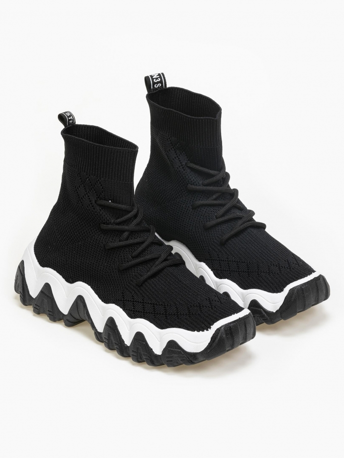 Sneakers μποτάκι κάλτσα με λογότυπο