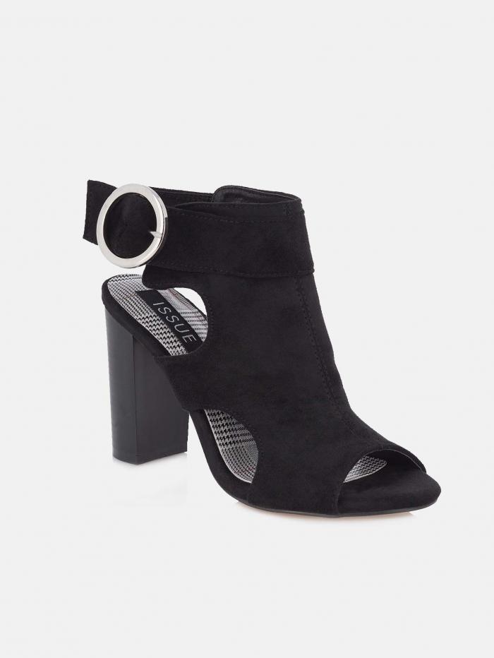 Suede block heel πέδιλα με ανοίγματα στο πλάι