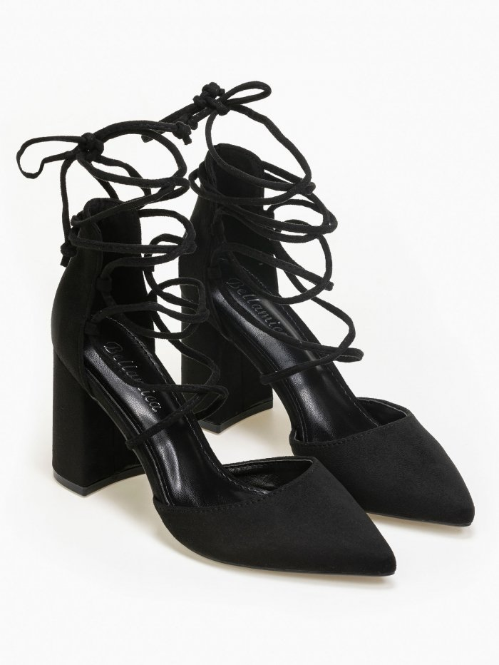 Suede lace up γόβες