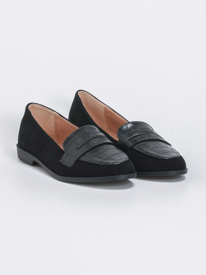 Suede loafers με croco