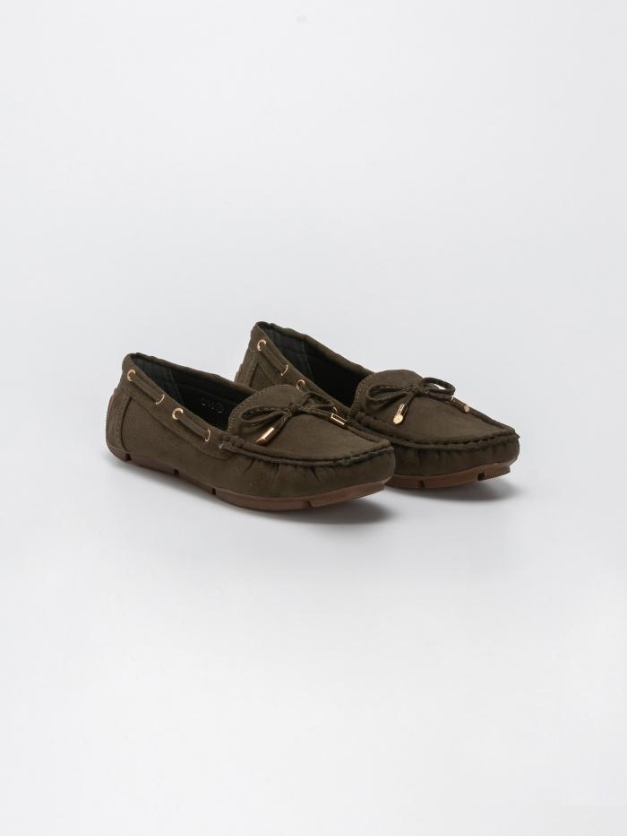 Suede loafers με φιογκάκι