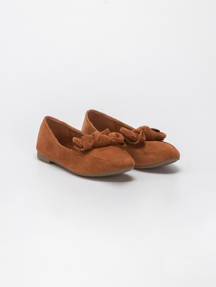 Suede loafers με φιόγκο