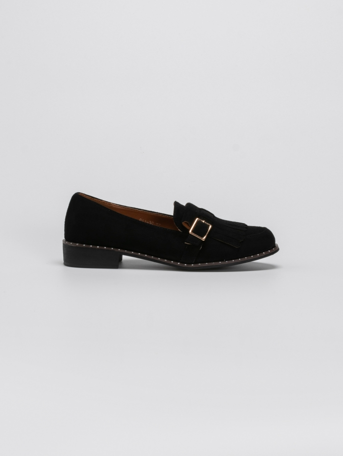 Suede loafers με κρόσσια και ζωνάκι