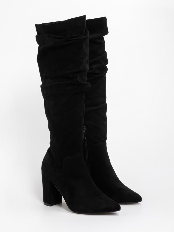 Suede μπότες με σούρες και χοντρό τακούνι