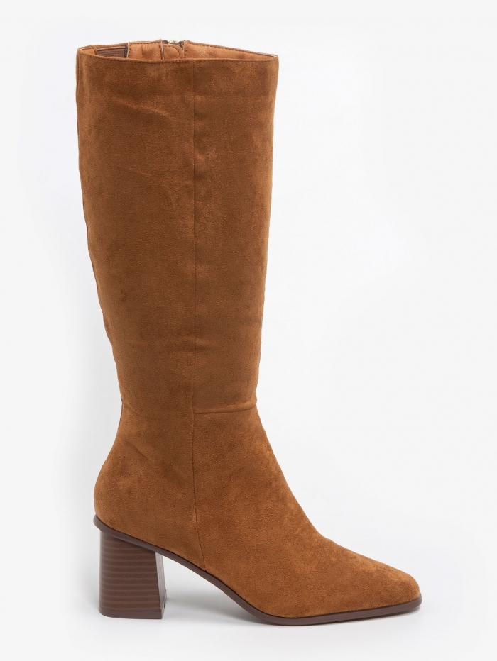 Suede μπότες με χοντρό τακούνι