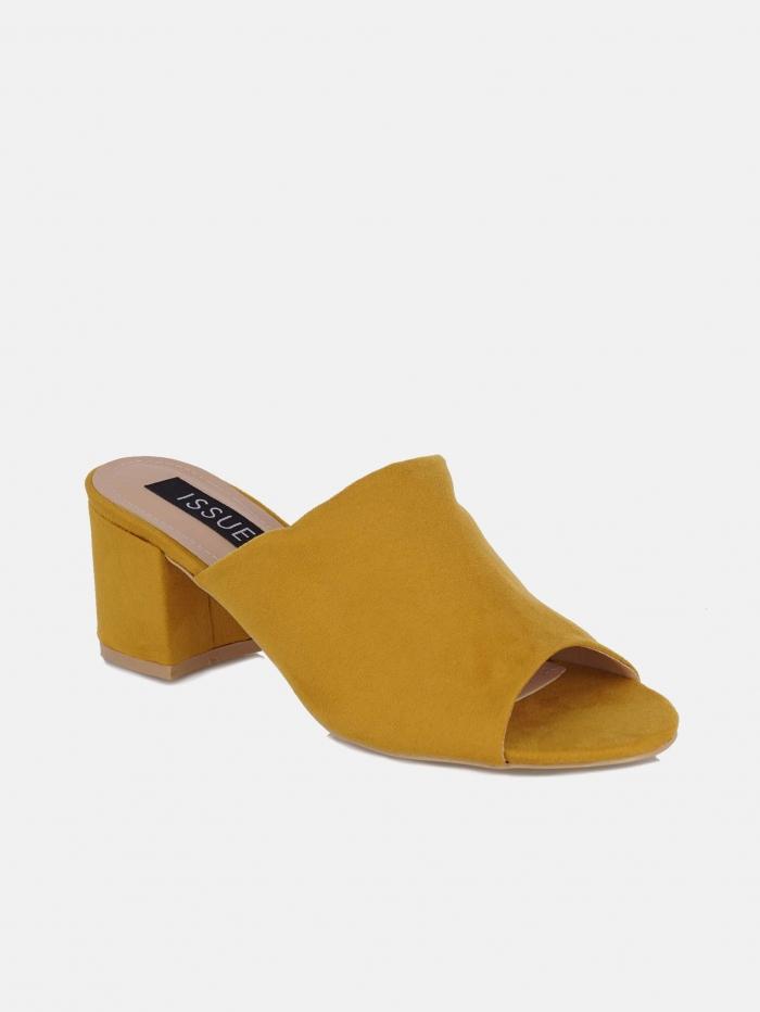 Suede mules με τετράγωνο τακούνι