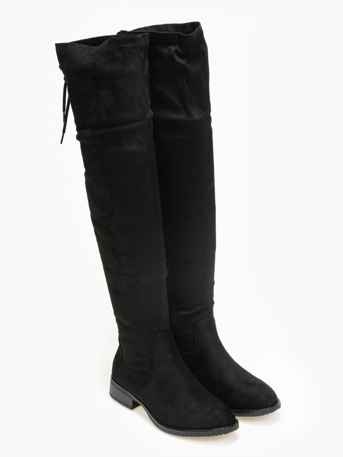 Suede over the knee μπότες με κορδόνι