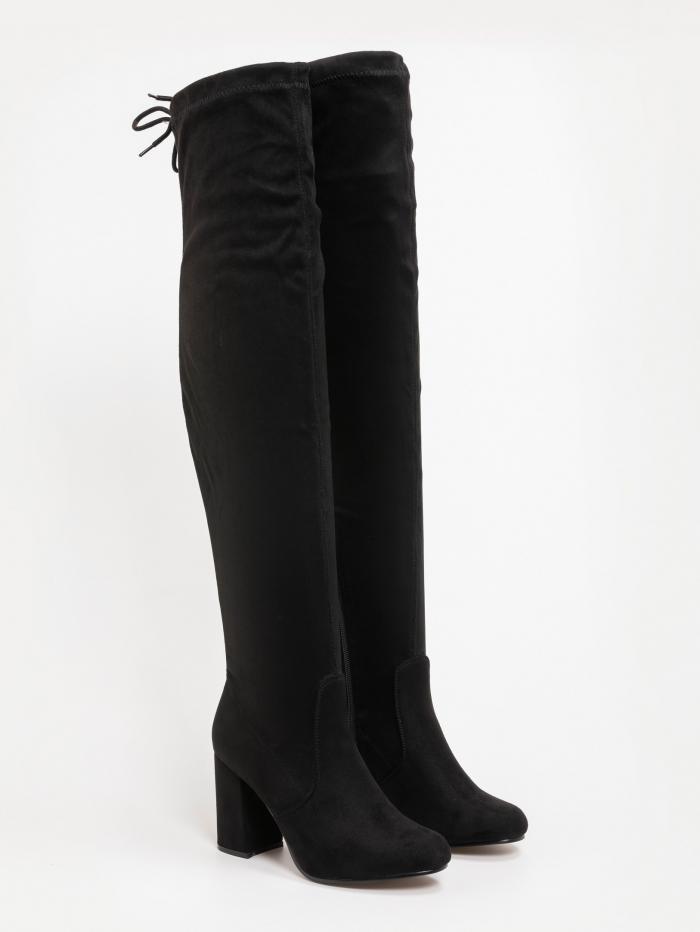 Suede over the knee μπότες με χοντρό τακούνι