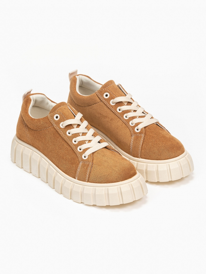 Suede sneakers με chunky σόλα