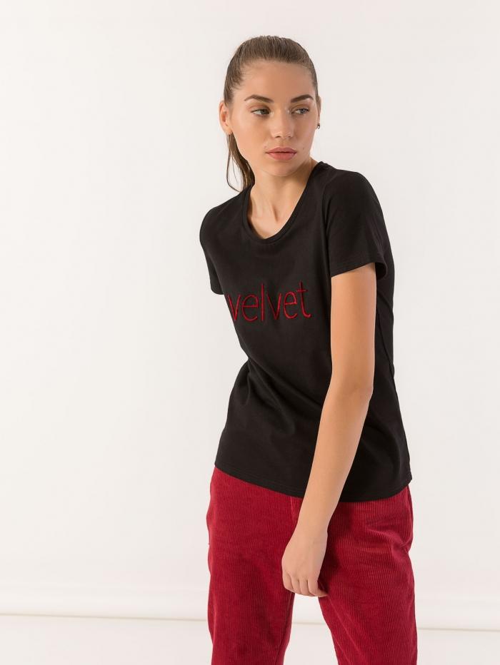 T-shirt velvet με βελούδινα γράμματα