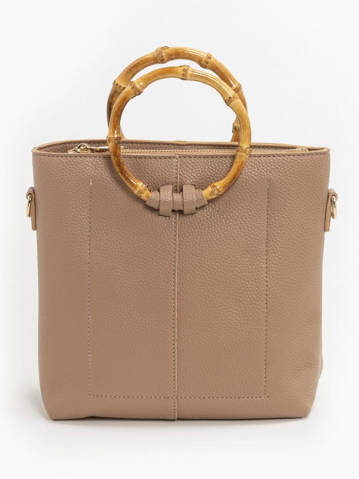 Τσάντα με bamboo χερούλια και αλυσίδα