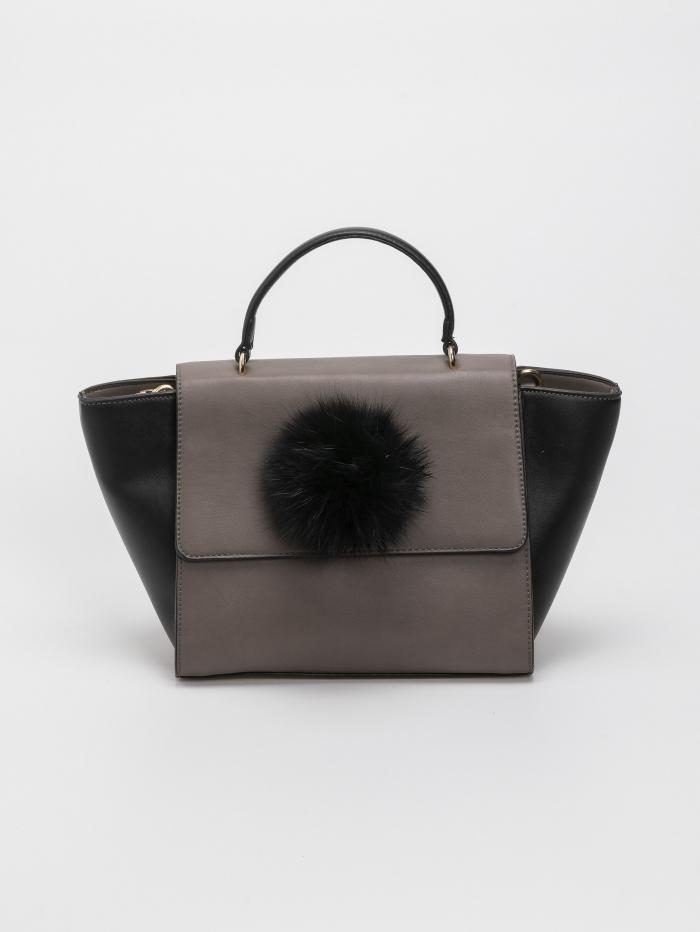 Τσάντα με γούνινο pom - pom