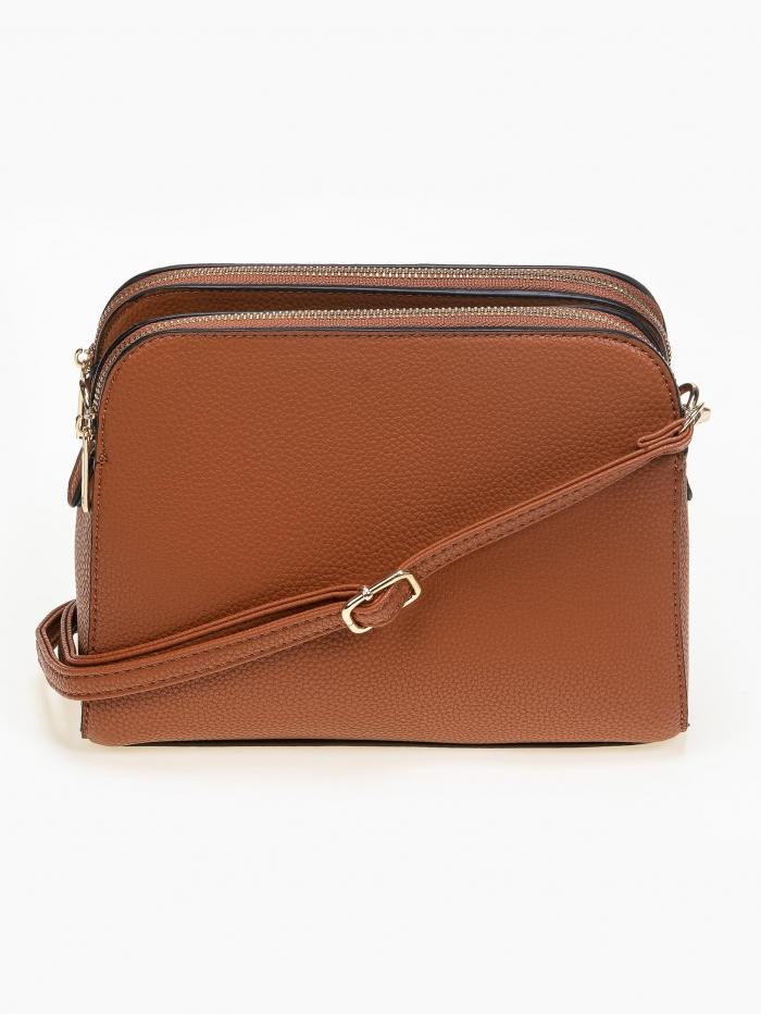 Τσάντα ώμου - χιαστί με φερμουάρ