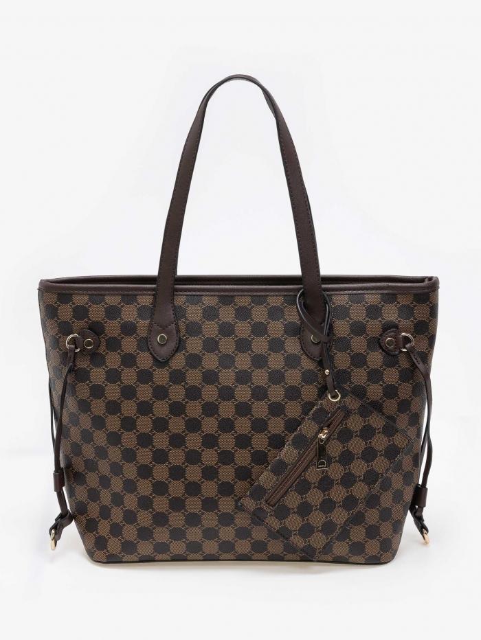 Τσάντα ώμου shopper με pattern