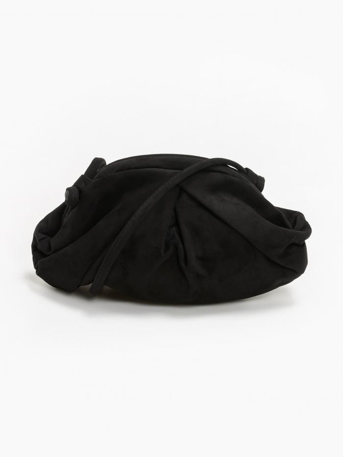 Suede τσάντα ώμου με πιέτες