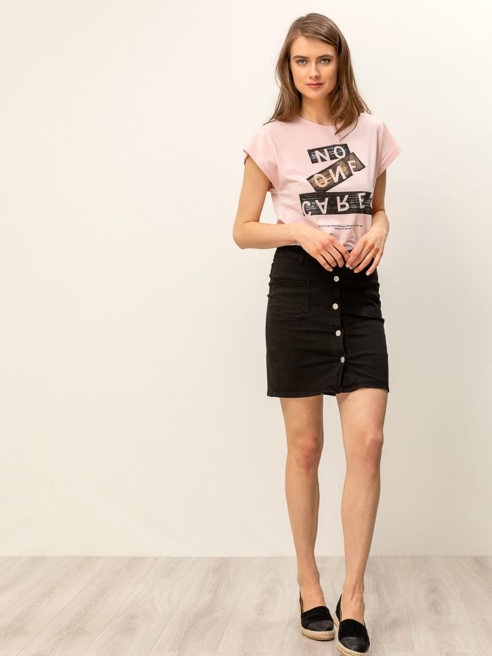 Τζιν μίνι φούστα με κουμπιά μπροστά
