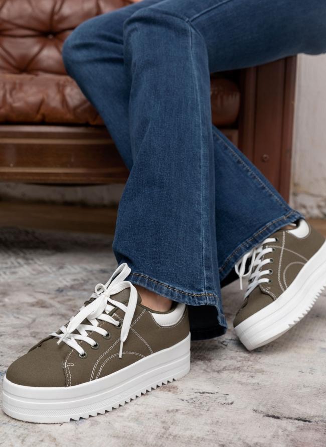 Υφασμάτινα sneakers με δίπατη σόλα