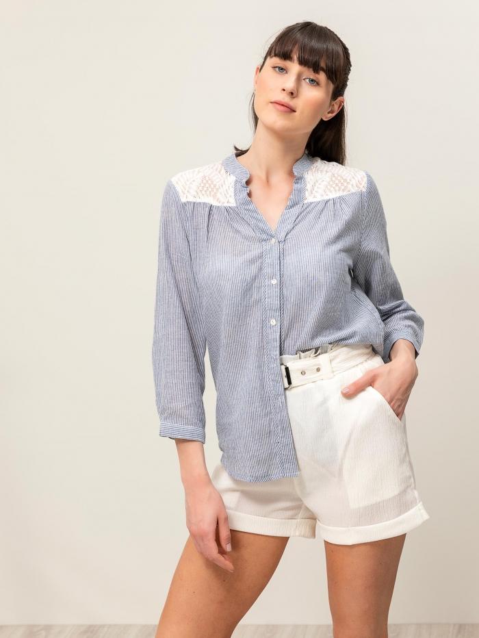Βαμβακερό πουκάμισο με ρίγα