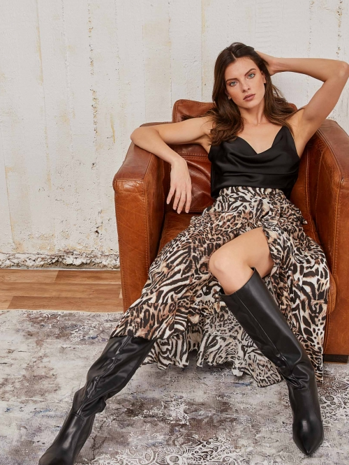 Κρουαζέ animal print φούστα