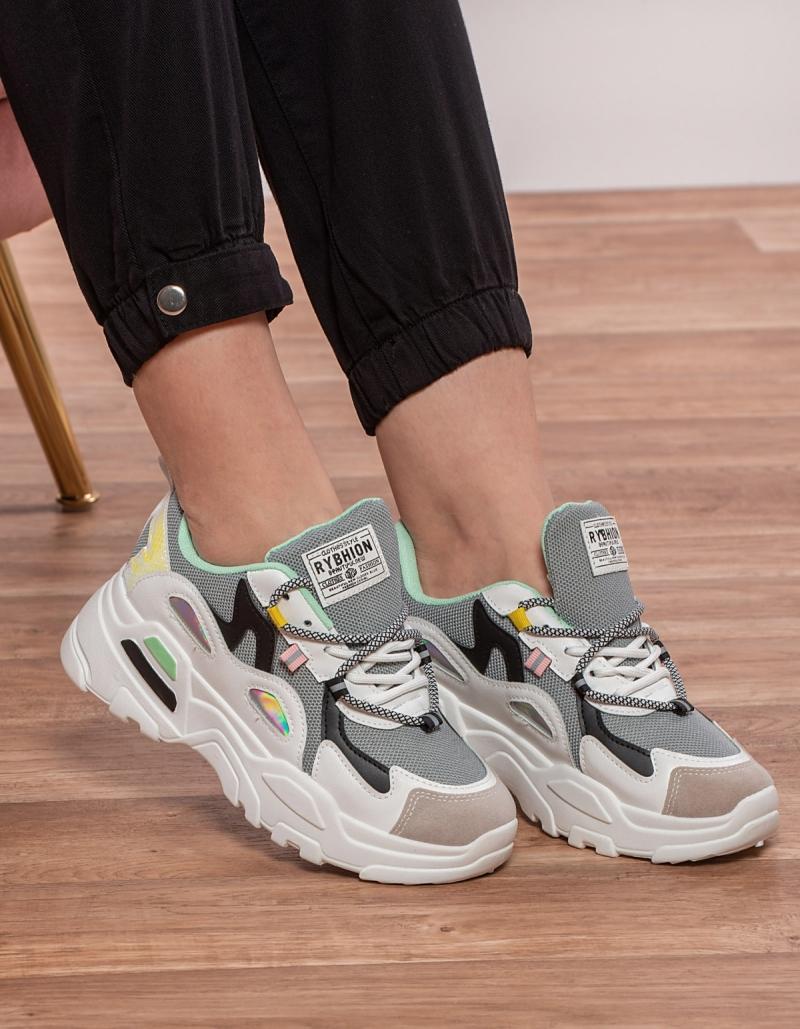 Chunky sneakers με συνδυασμό υλικών και χρωμάτων