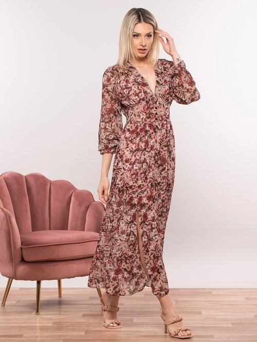 Εμπριμέ φόρεμα με διακοσμητικά κουμπιά