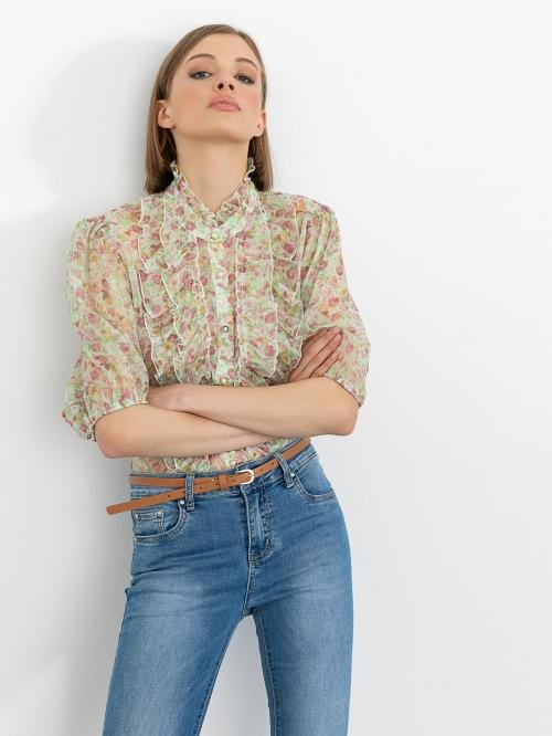 Φλοράλ πουκάμισο με βολάν
