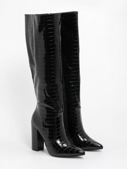 Κροκό μυτερές μπότες με χοντρό τακούνι
