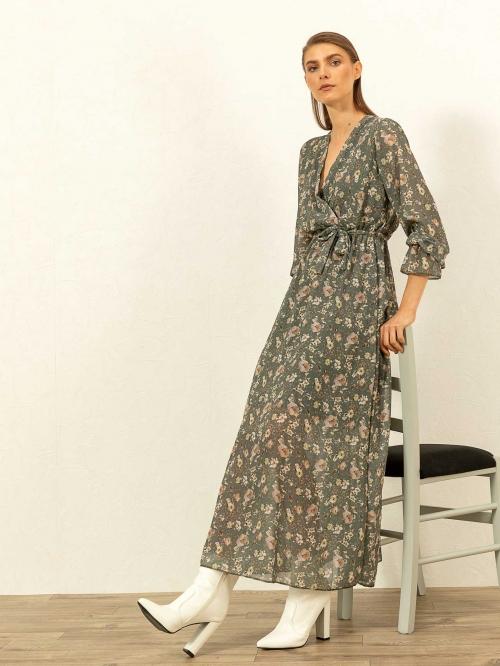 Maxi φλοράλ κρουαζέ φόρεμα