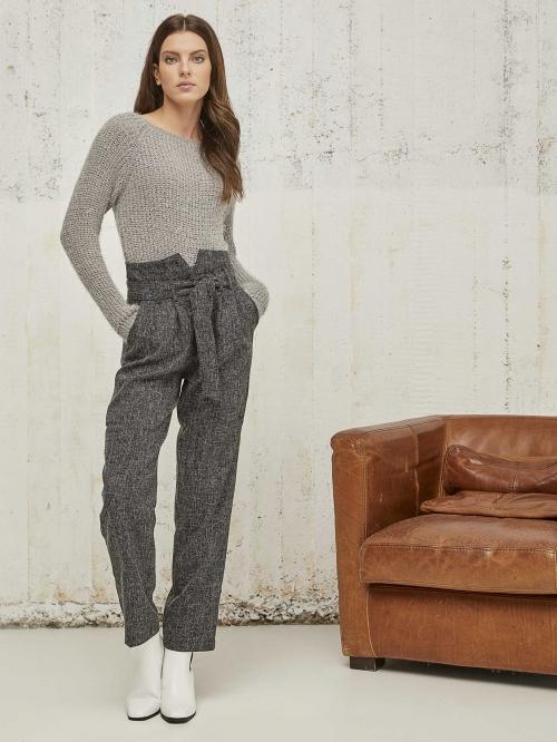 Ψηλόμεση τύπου tweed παντελόνα