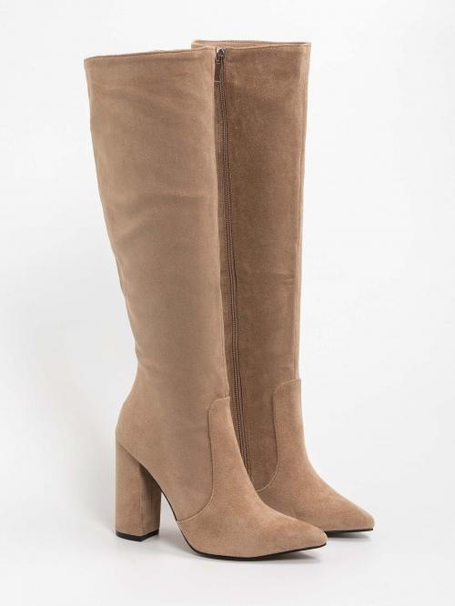 Suede μυτερές μπότες με χοντρό τακούνι
