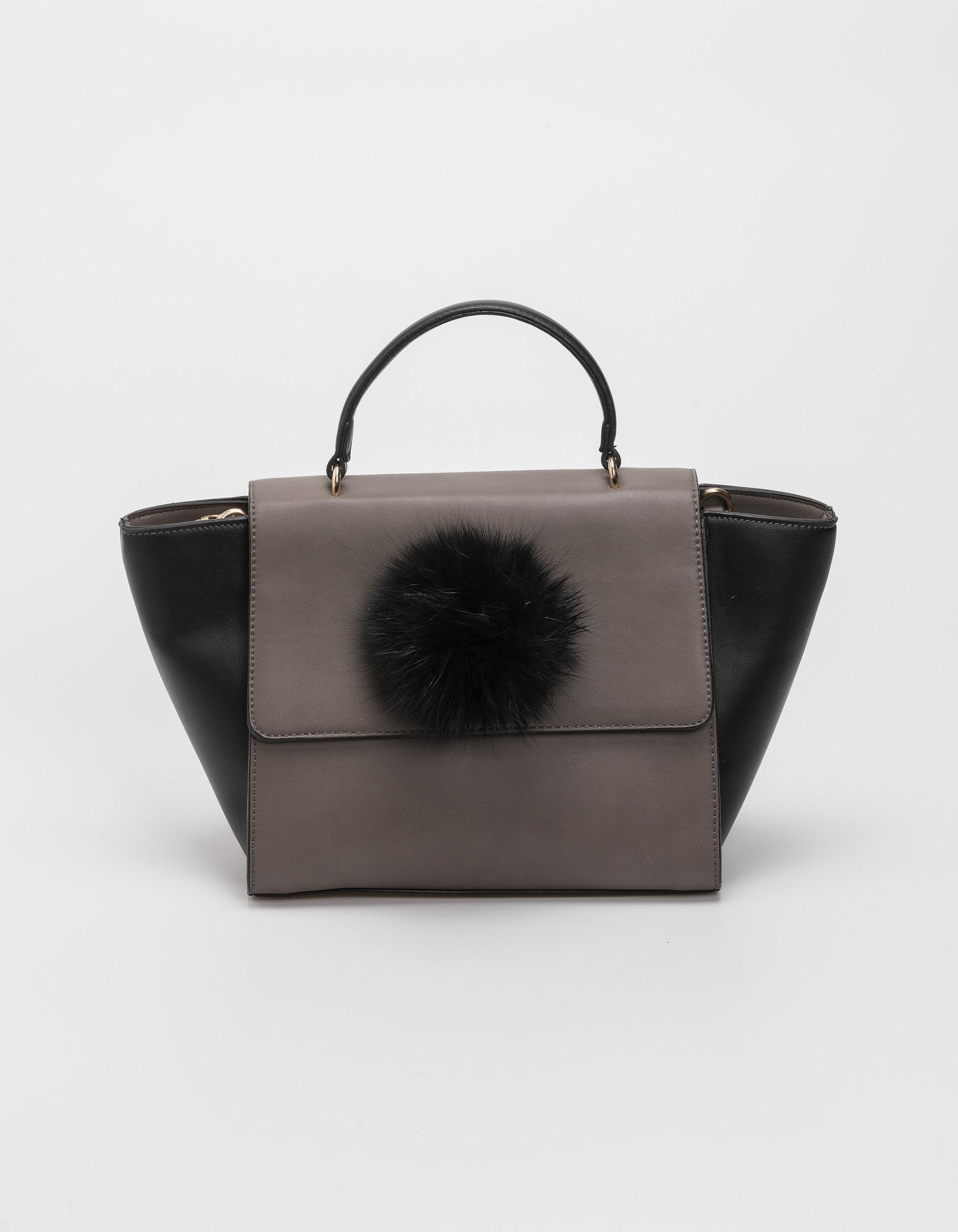 Τσάντα με γούνινο pom - pom - Γκρι