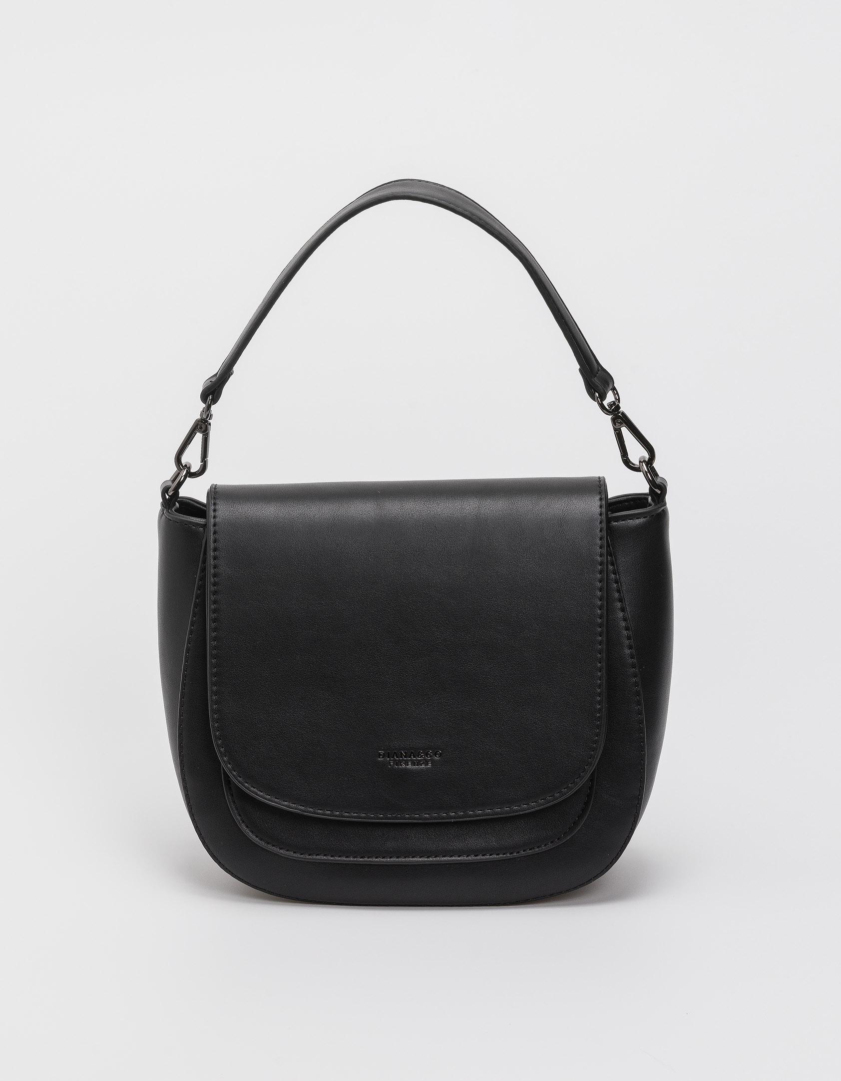 Τσάντα ώμου με καπάκι - Μαύρο