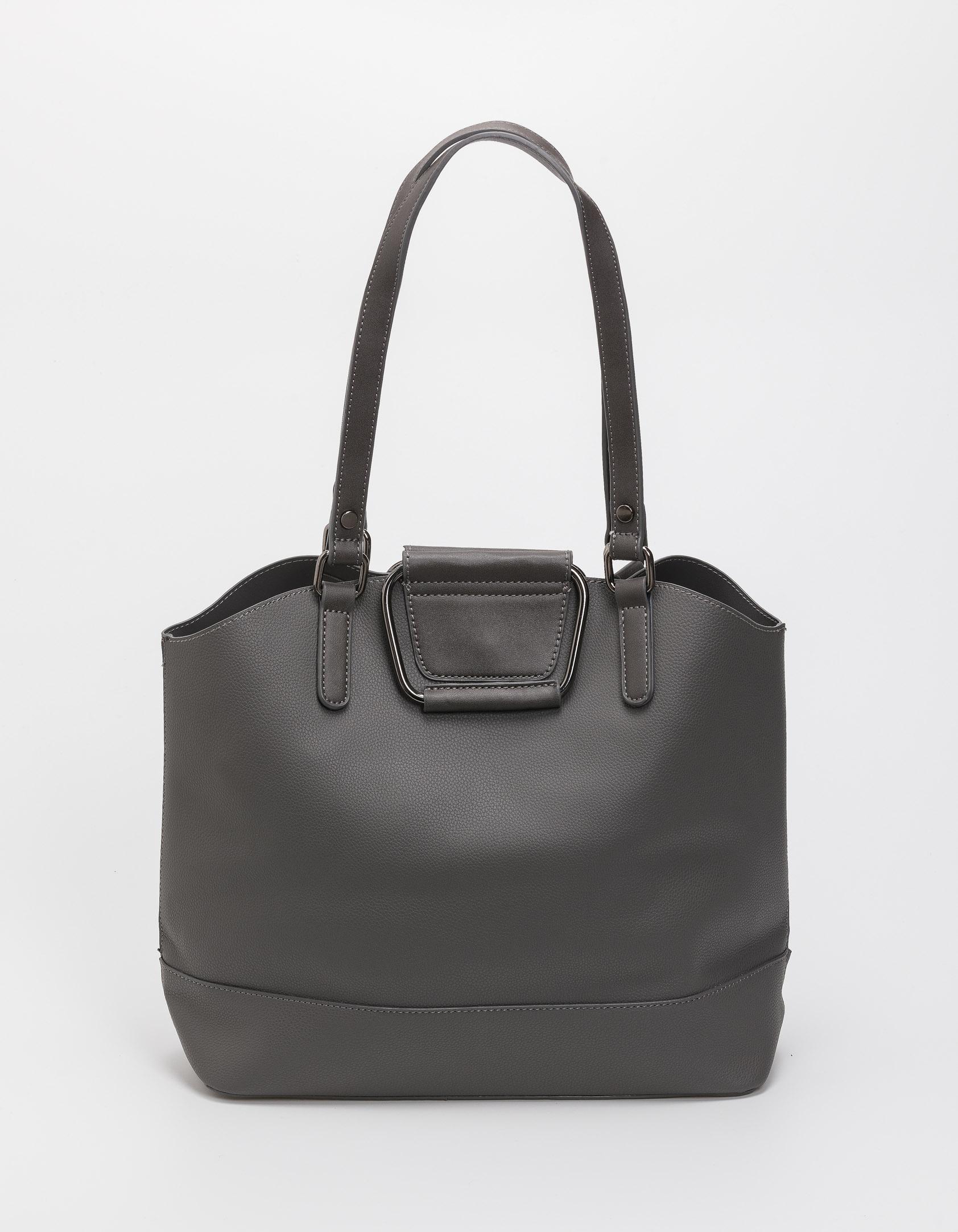 Τσάντα ώμου με μεταλλικές λεπτομέρειες - Γκρι