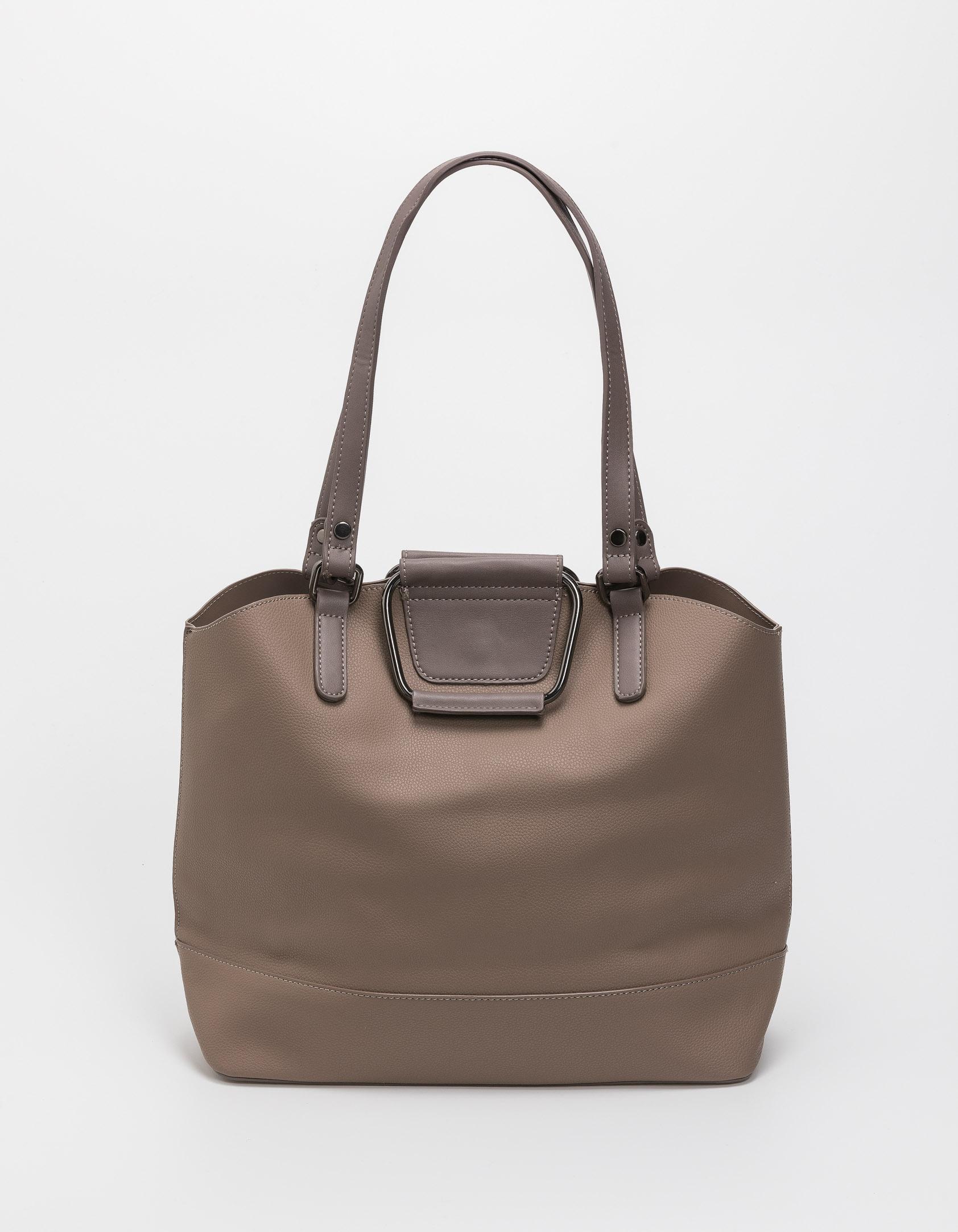 Τσάντα ώμου με μεταλλικές λεπτομέρειες - Πούρο