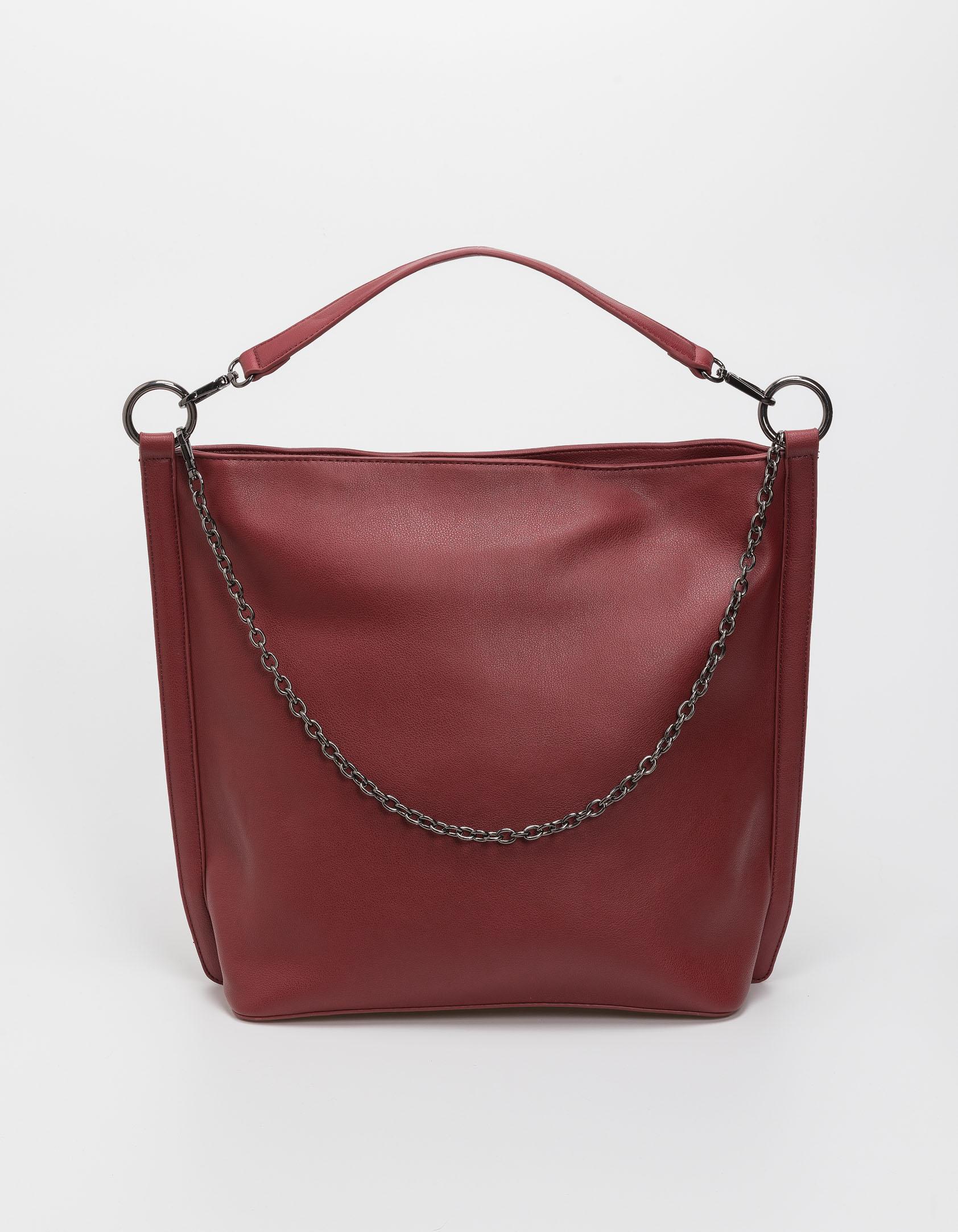 Τσάντα χειρός και ώμου με αλυσίδα - Κόκκινο