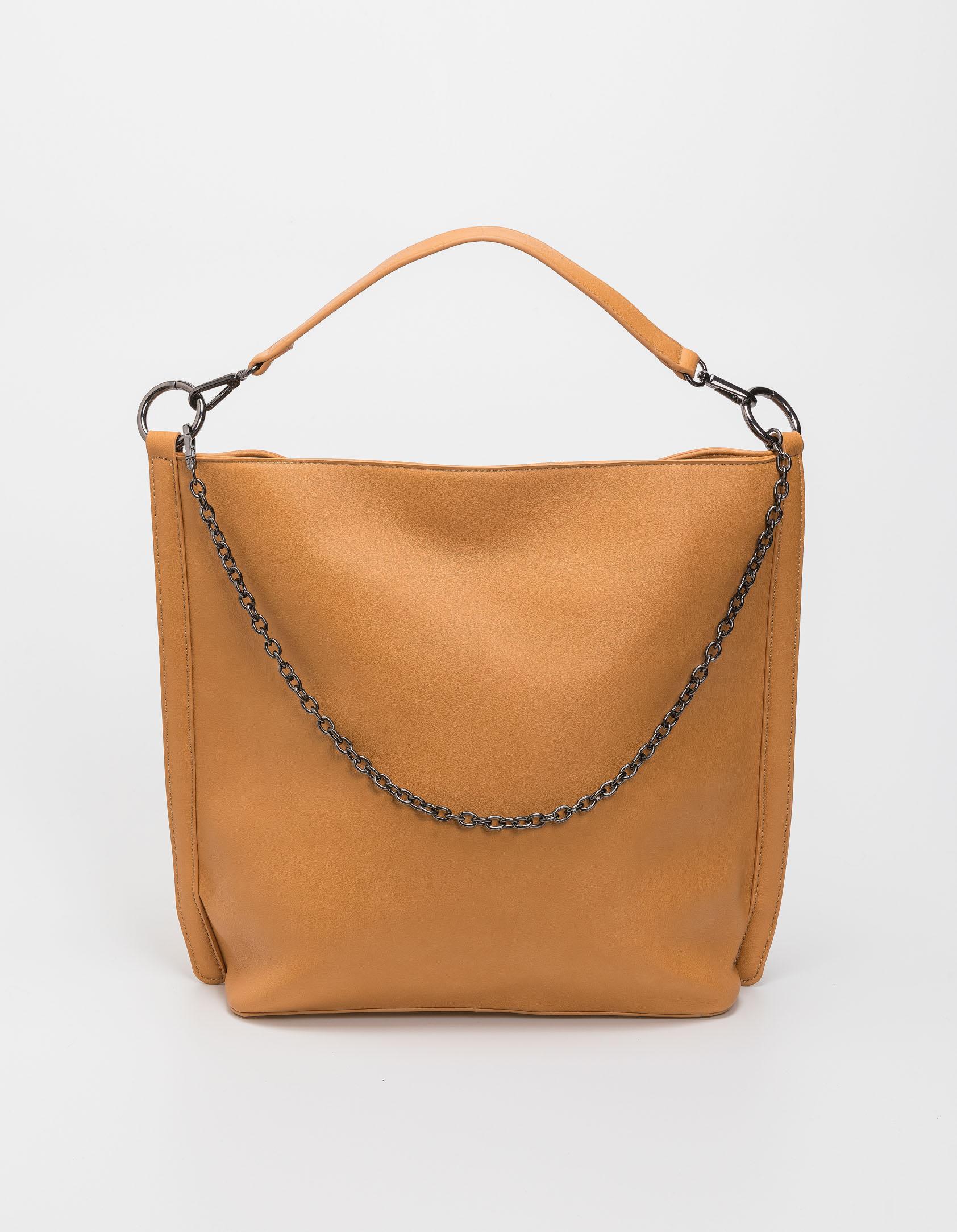 Τσάντα χειρός και ώμου με αλυσίδα - Μουσταρδί