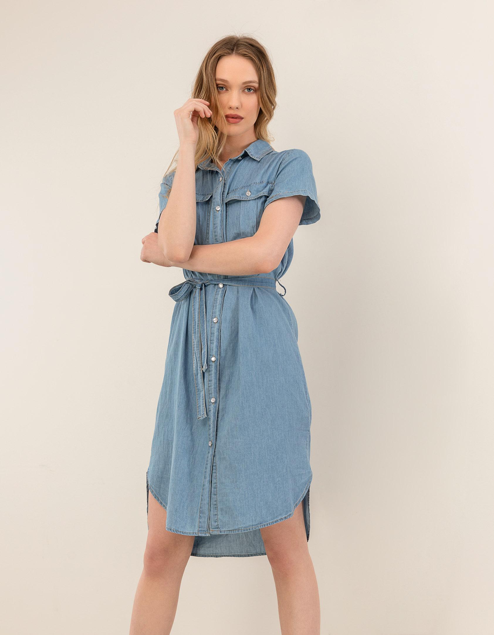 Τζιν shirt dress με ζώνη - Μπλε